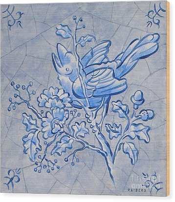 Singing Bird Delft Blue Wood Print by Raymond Van den Berg