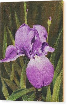 Single Iris Wood Print by Anastasiya Malakhova