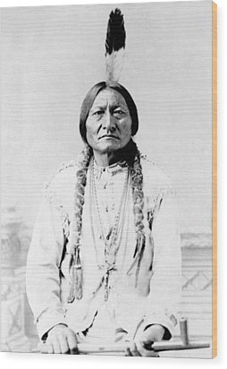 Sioux Chief Sitting Bull Wood Print by War Is Hell Store