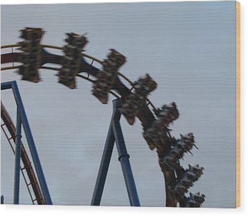 Six Flags Great Adventure - Medusa Roller Coaster - 12126 Wood Print by DC Photographer