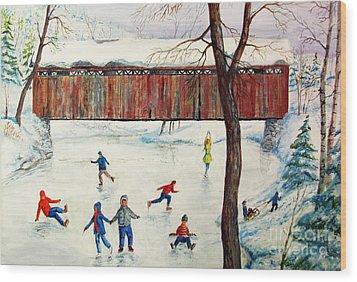 Skating At The Bridge Wood Print by Philip Lee