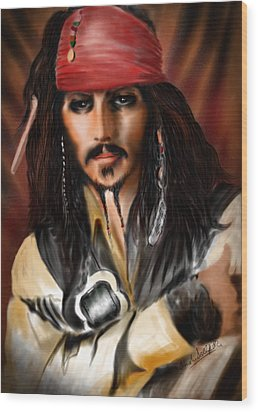 Sketching A Pirate... Wood Print by Alessandro Della Pietra
