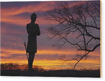 Sky Fire - 124th Ny Infantry Orange Blossoms-1a Sickles Ave Devils Den Sunset Autumn Gettysburg Wood Print by Michael Mazaika