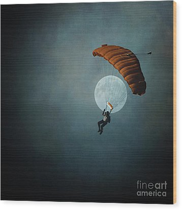 Skydiver's Moon Wood Print by Trish Mistric