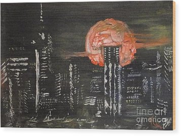 Skyrise Moon Wood Print by PainterArtist FIN