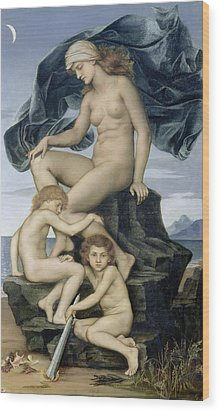Sleep And Death The Children Of The Night Wood Print by Evelyn De Morgan