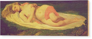Sleeping Nymph Wood Print by Jean Baptiste Ange Tissier