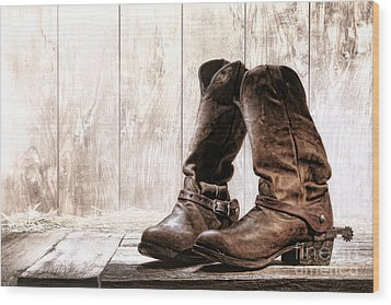 Slouch Cowboy Boots Wood Print by Olivier Le Queinec