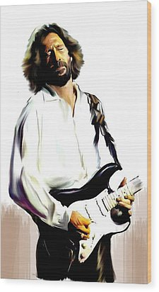 Slow Hand  Eric Clapton Wood Print by Iconic Images Art Gallery David Pucciarelli
