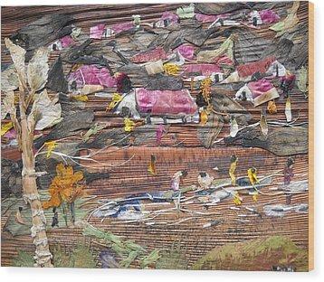 Slum On Hill  Wood Print by Basant Soni