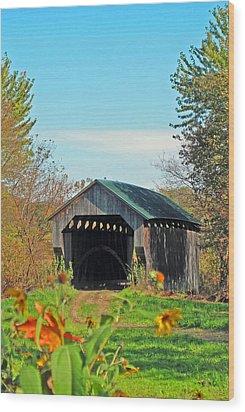 Small Private Country Bridge Wood Print by Barbara McDevitt