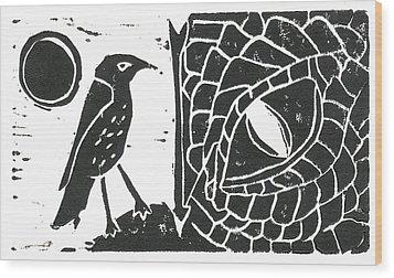 Smaug And The Thrush Wood Print by Lynn-Marie Gildersleeve