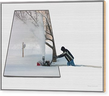 Snow Blower Wood Print by Thomas Woolworth