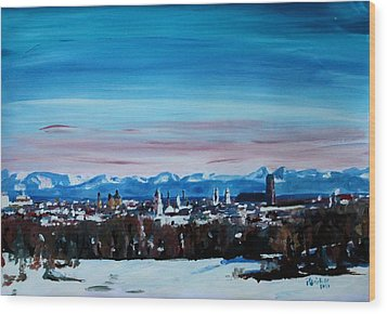 Snow Covered Munich Winter Panorama With Alps Wood Print by M Bleichner