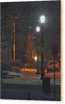 Snow In Downtown Grants Pass - 5th Street Wood Print by Mick Anderson
