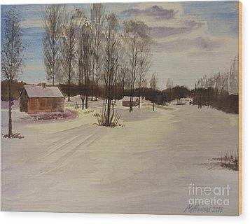 Snow In Solbrinken Wood Print by Martin Howard