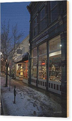 Snow On G Street - Old Town Grants Pass Wood Print by Mick Anderson