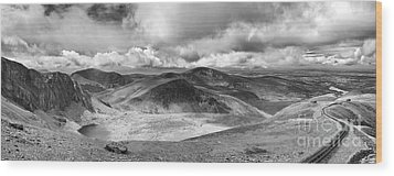 Snowdonia Panorama In Black And White Wood Print by Jane Rix