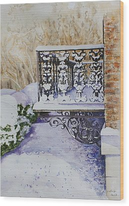Snowy Ironwork Wood Print by Patsy Sharpe