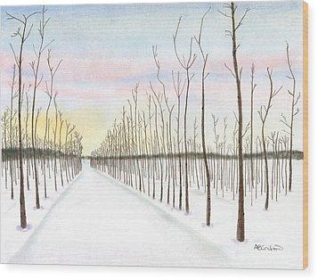 Snowy Lane Wood Print by Arlene Crafton