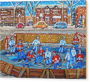 Snowy Rink Hockey Game Montreal Memories Winter Street Scene Painting Carole Spandau Wood Print by Carole Spandau