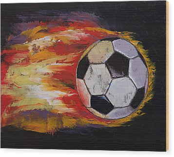 Soccer Wood Print by Michael Creese