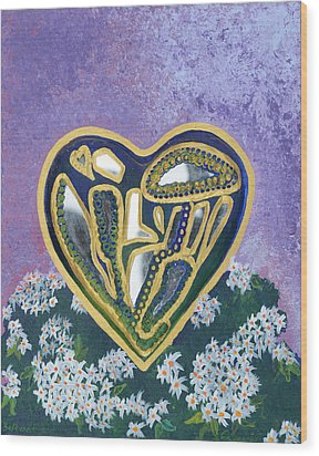 Softened Heart Best Reflections Energy Collection Wood Print by Catt Kyriacou