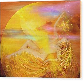 Solar Plexus Goddess Wood Print by Carol Cavalaris
