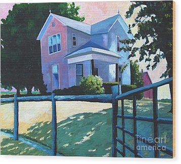 Sold Childhood Home Comissioned Work Wood Print by Charlie Spear