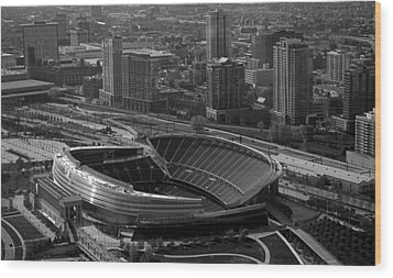 Soldier Field Chicago Sports 05 Black And White Wood Print by Thomas Woolworth