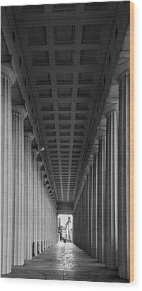 Soldier Field Colonnade Chicago B W B W Wood Print by Steve Gadomski