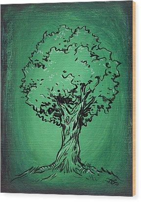 Solitary Tree In Green Wood Print by John Ashton Golden