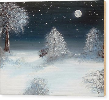 Solstice Snowfall I Wood Print by Alys Caviness-Gober