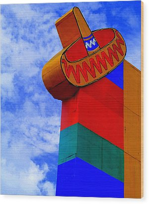 Sombrero Sign Wood Print by Randall Weidner