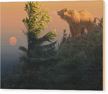 Something On The Air - Grizzly Wood Print by Aaron Blaise