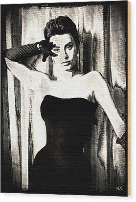 Sophia Loren - Black And White Wood Print by Absinthe Art By Michelle LeAnn Scott