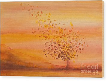 Soul Freedom Watercolor Painting Wood Print by Michelle Wiarda