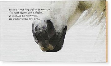 Soul Touch - Emotive Horse Art By Sharon Cummings Wood Print by Sharon Cummings