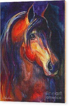 Soulful Horse Painting Wood Print by Svetlana Novikova