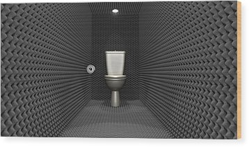 Soundproof Toilet Cubicle Wood Print by Allan Swart