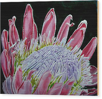 South African Flower Protea Painting Wood Print by Sylvie Heasman