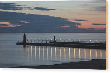 South Haven Michigan Lighthouse Wood Print by Adam Romanowicz