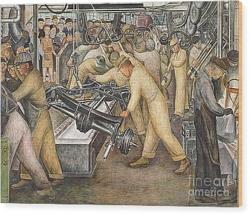 South Wall Of A Mural Depicting Detroit Industry Wood Print by Diego Rivera