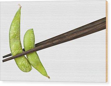 Soy Beans With Chopsticks Wood Print by Elena Elisseeva
