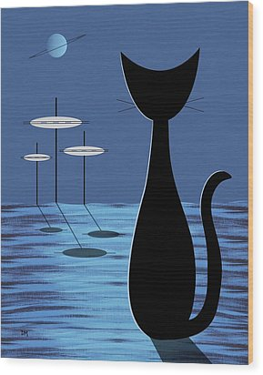 Space Cat In Blue Wood Print by Donna Mibus