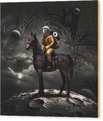 Space Tourist Wood Print by Vitaliy Gladkiy