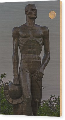 Sparty And Moon Wood Print by John McGraw