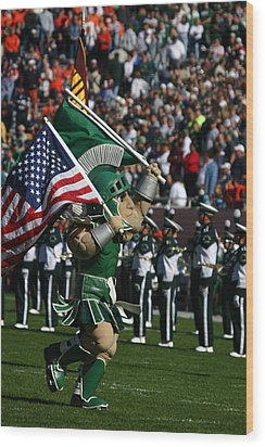 Sparty At Football Game Wood Print by John McGraw