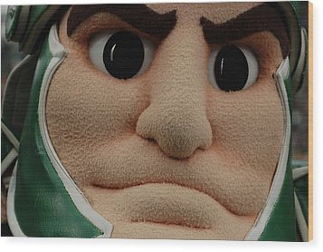 Sparty Face  Wood Print by John McGraw