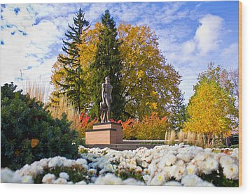 Sparty In Autumn  Wood Print by John McGraw